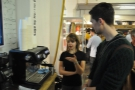 Matt, aka the Gladieater, is shown the ropes by barista Caitlin, who offers him a go.