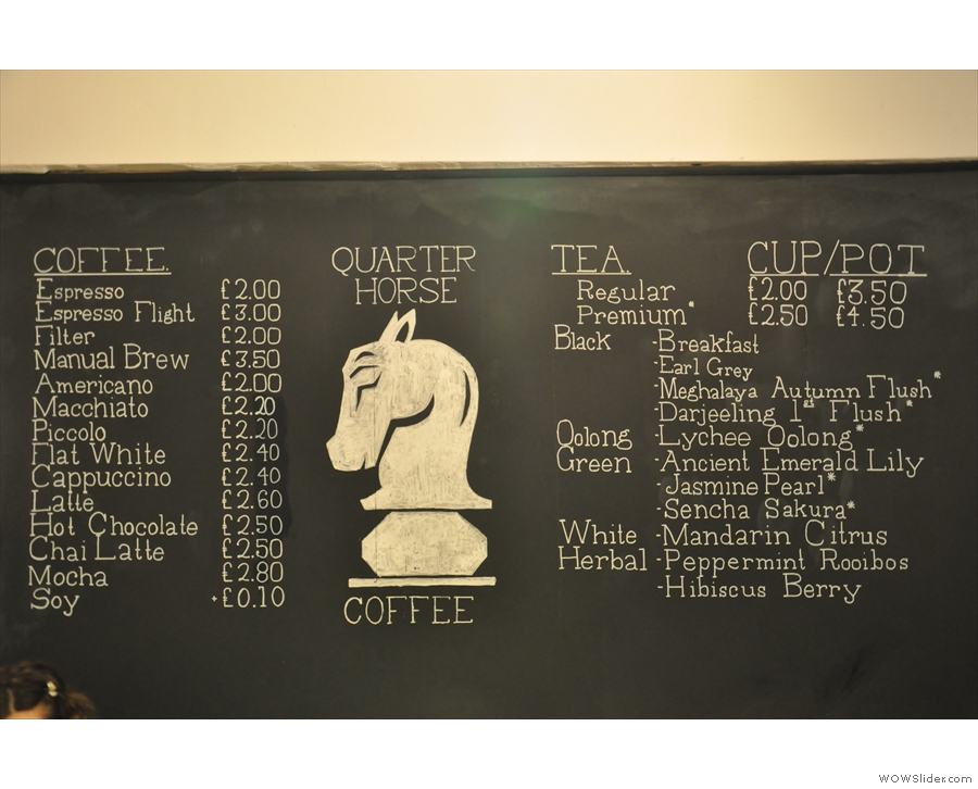 The menu reveals a comprehensive coffee menu, as well as lots of tea.