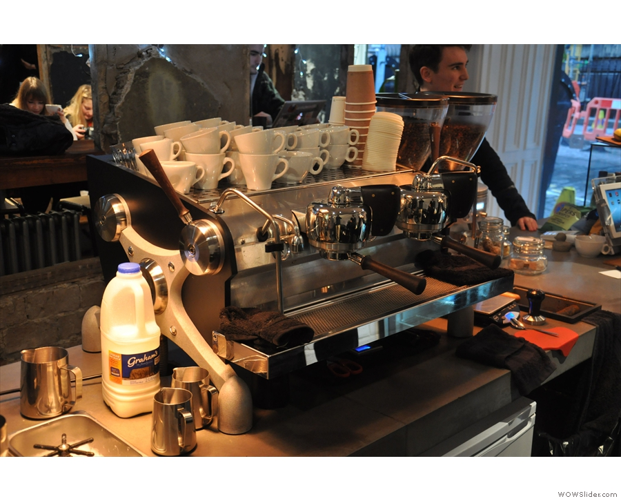 A behind-the-scenes look at the impressive & slightly intimidating Slayer espresso machine.
