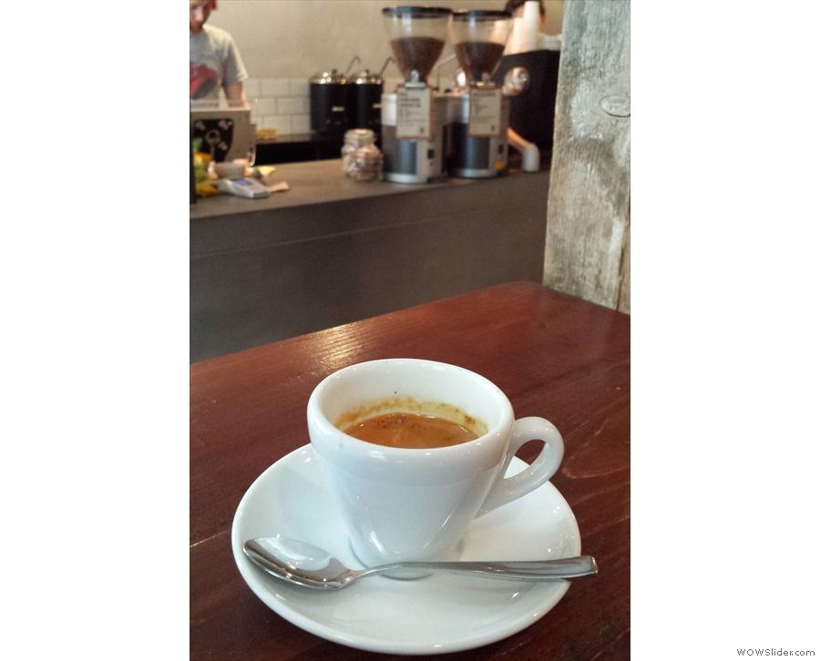 My espresso, a Brazilian Fazenda Passeio, eyes up the grinders.