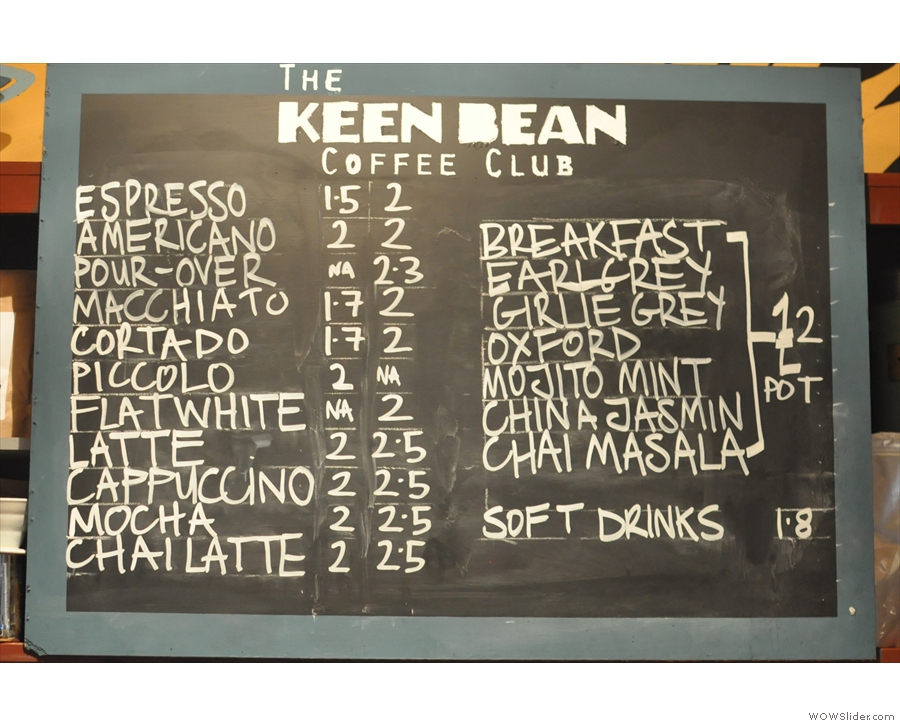 So, to business. Keen Bean, despite its size, has a comprehensive coffee menu.