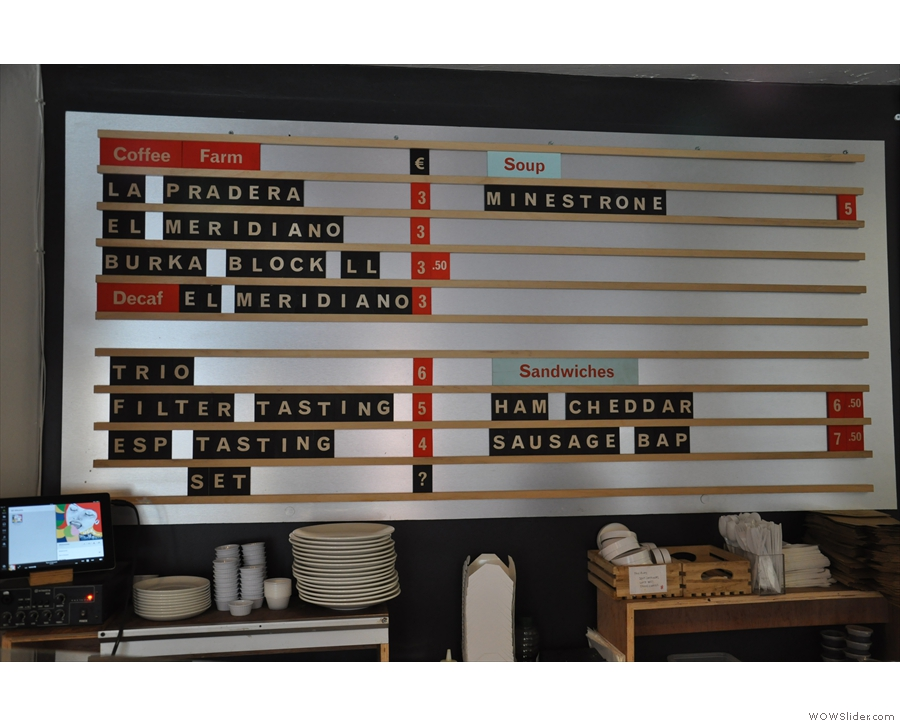3FE's innovative coffee menu: describe the beans, not the brew method/size.