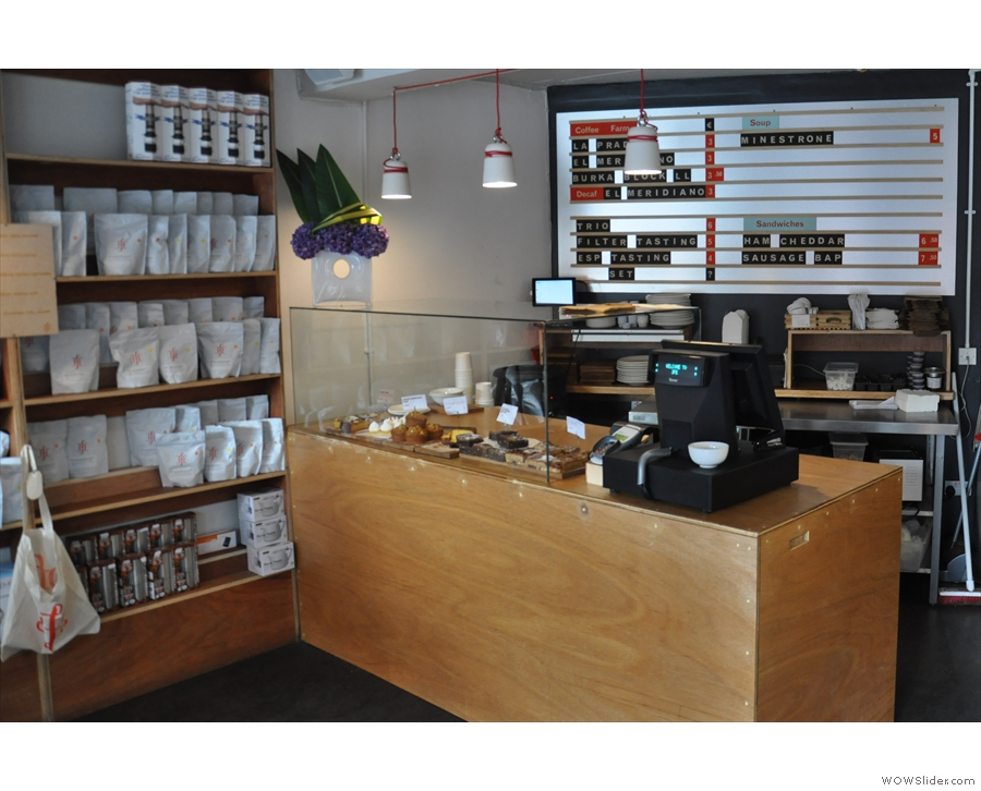 The counter as seen from the main door.