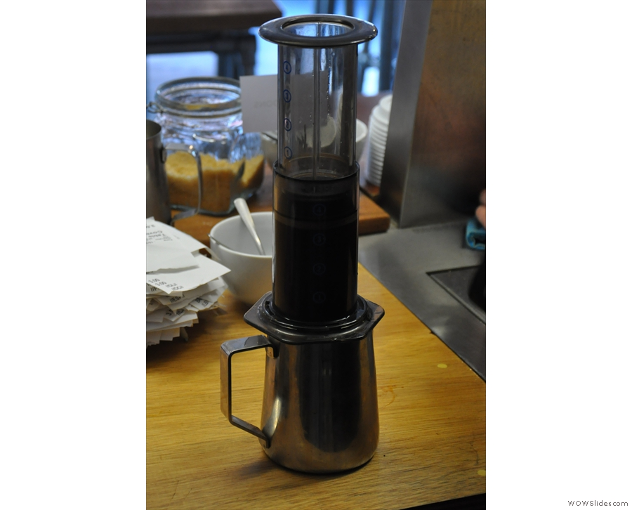 ... although the Aeropress is turned the right way up to brew.