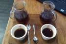 ... and here in the cup. The coffee is beautifully presented.