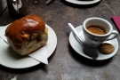 My espresso and sticky bun.