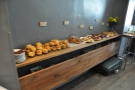 Opposite the seating is a shelf with all the pastries... Very strategically placed!