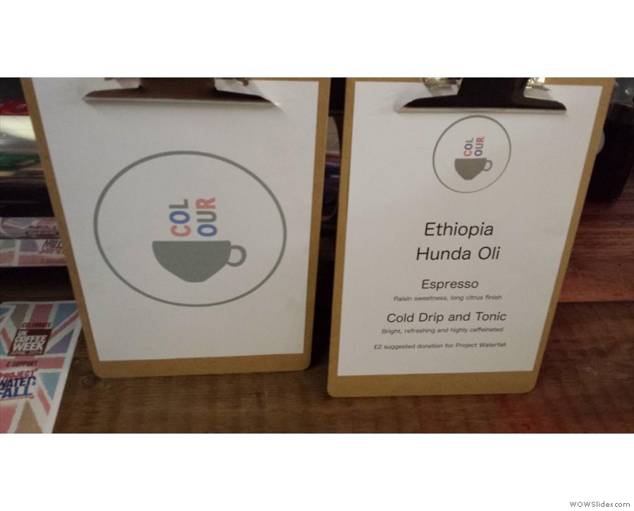 My first taste of Colour's coffee, an Ethiopian Hunda Oli.