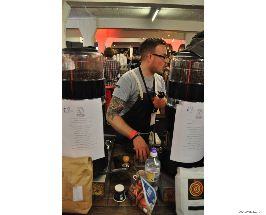 Here's founder, Toby, flanked by the two espressos he had on that day.