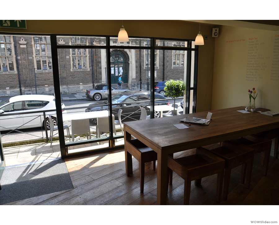 The view from the counter, with the communal table between counter and window.