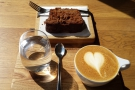 My flat white, plus Kate's slice of pear & ginger cake.