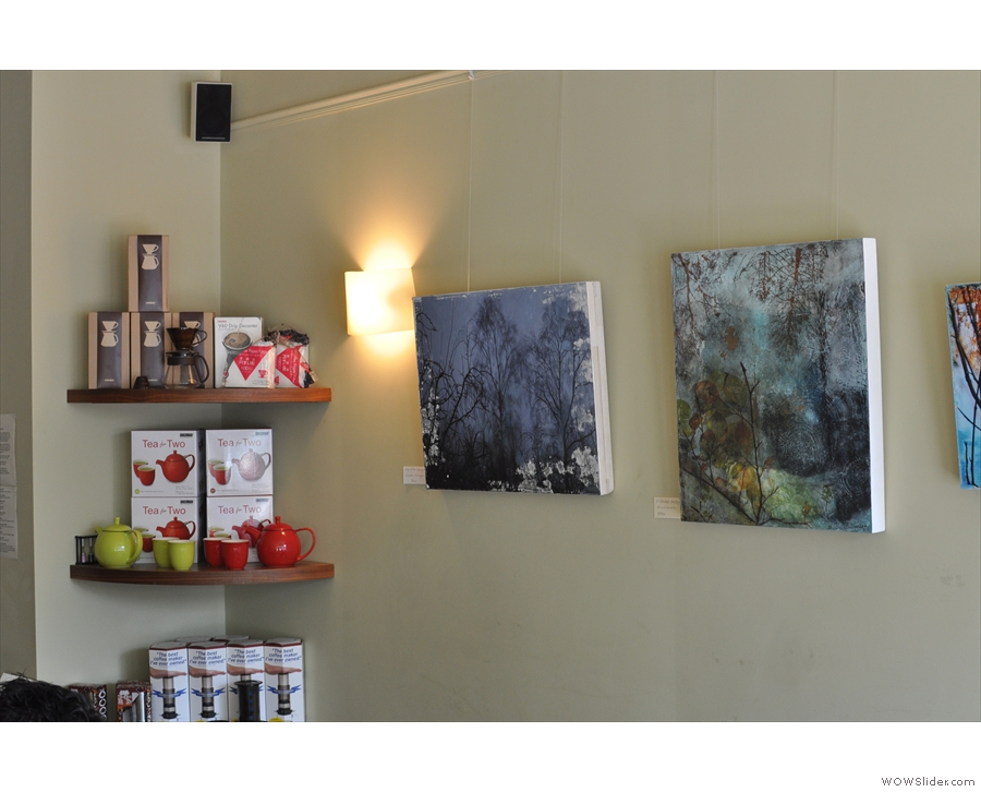 More of the local art, plus a shelf of home brew (tea and coffee) kit.