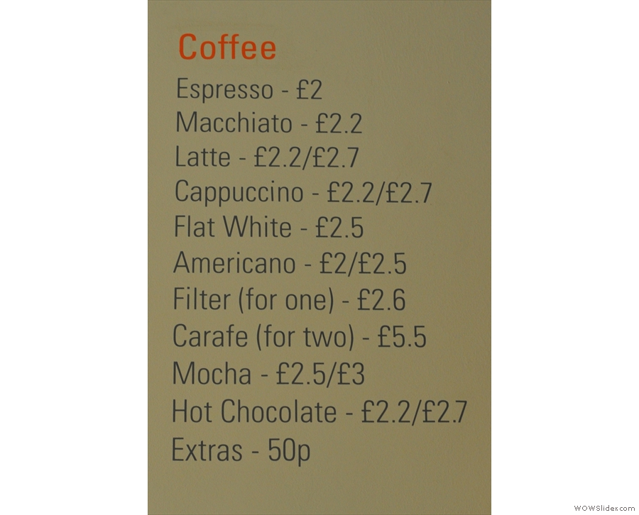 In comparison, the coffee menu looks a little lost...