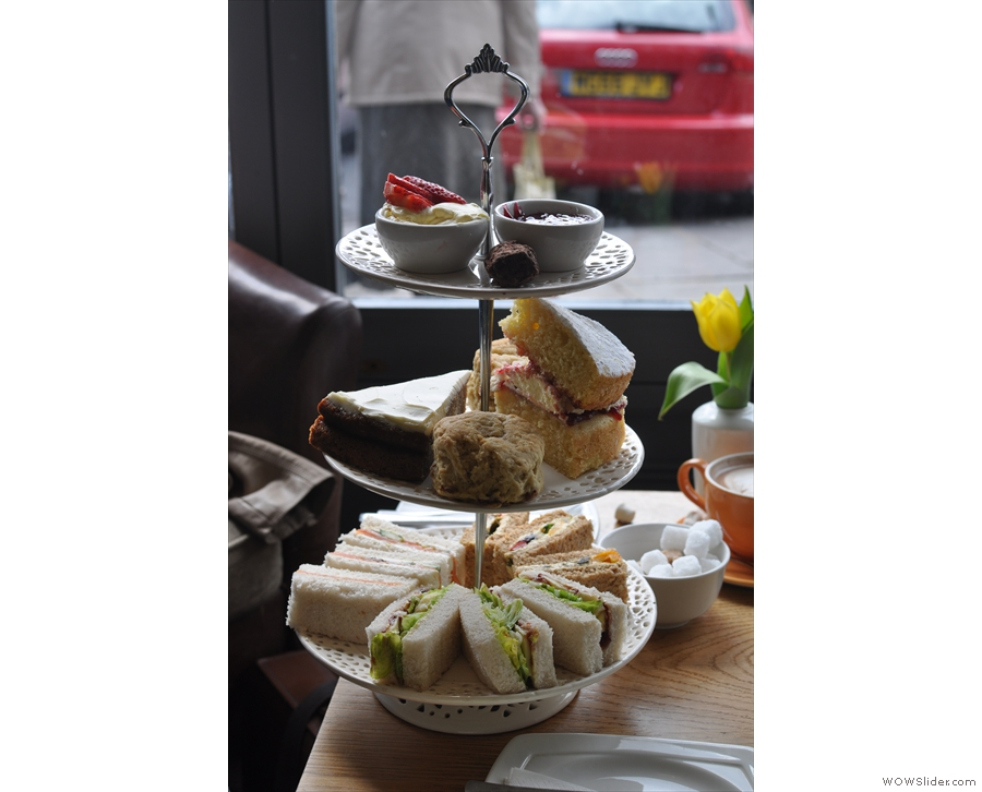 This is what we should have had instead of lunch: afternoon tea, complete with sandwiches and cake. Next time...