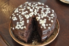 A close-up of the chocolate cake (for Claire).