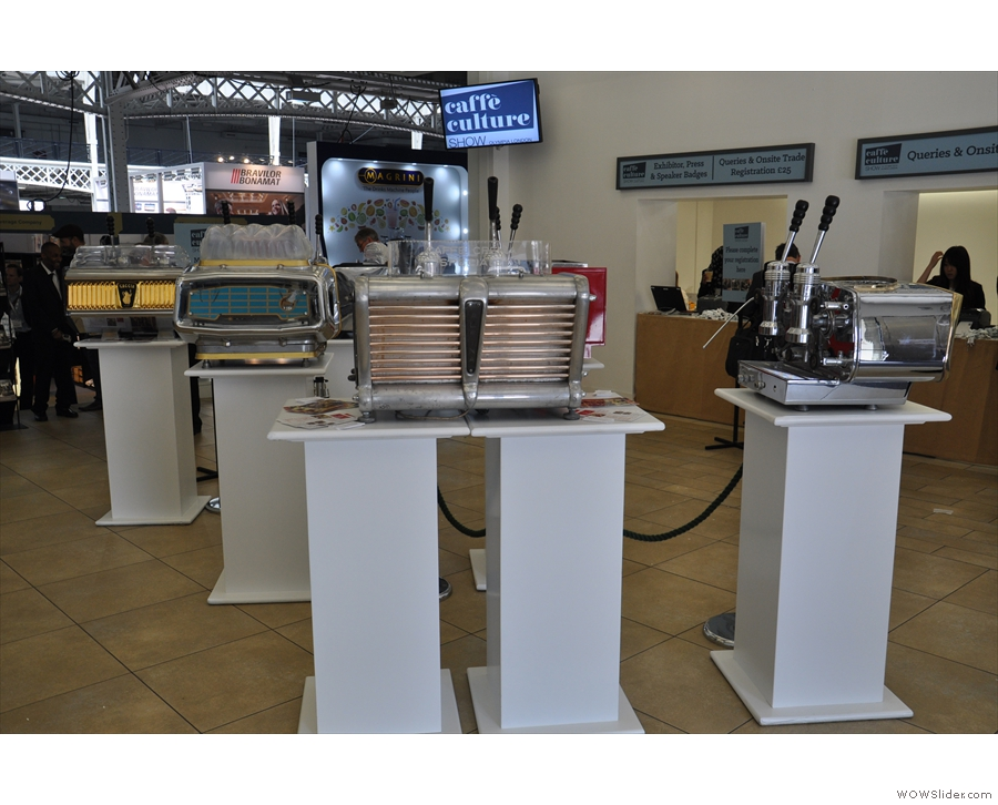 The entrance lobby was given over to a display of Doctor Espresso's vintage machines!