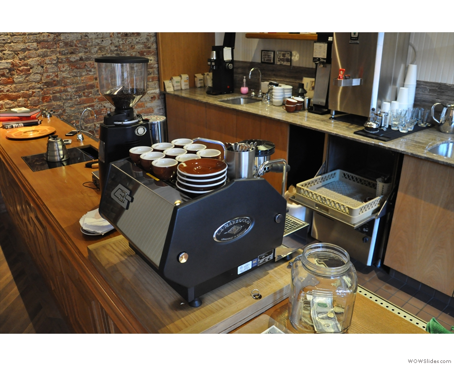 Although it's a brew bar, there is this dinky, one-group La Marzocco as well.