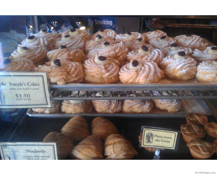 And here they are on sale in Caffe Roma, filled with patisserie cream.