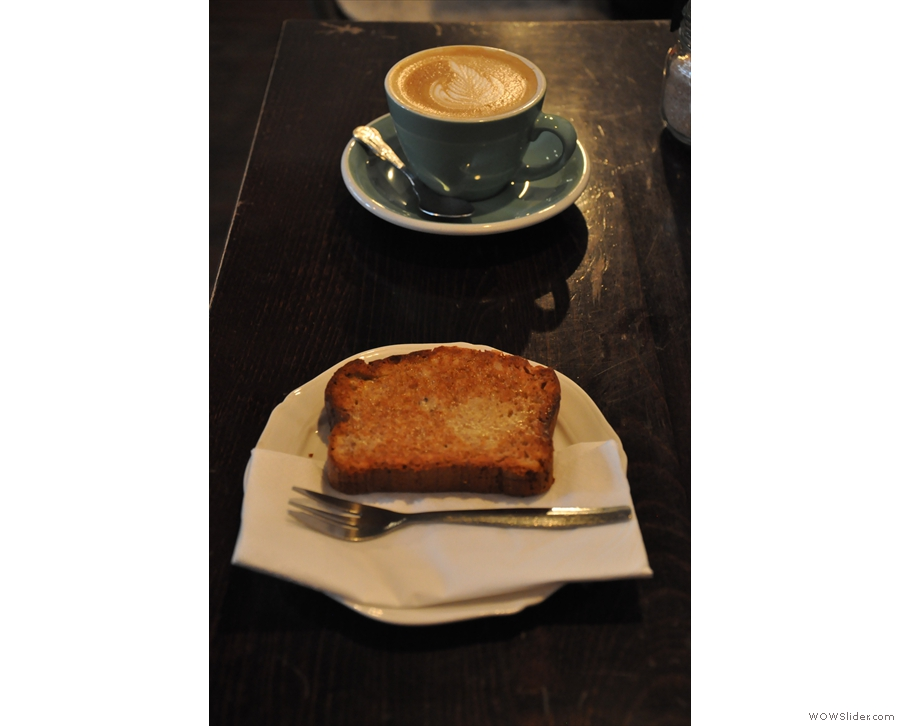 And a slice of toasted banana bread to go with my (decaf) flat white.