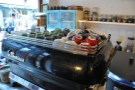 The espresso machine takes pride of place on the counter...