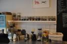 Behind the espresso machine is a littlle station for making (loose leaf) tea...