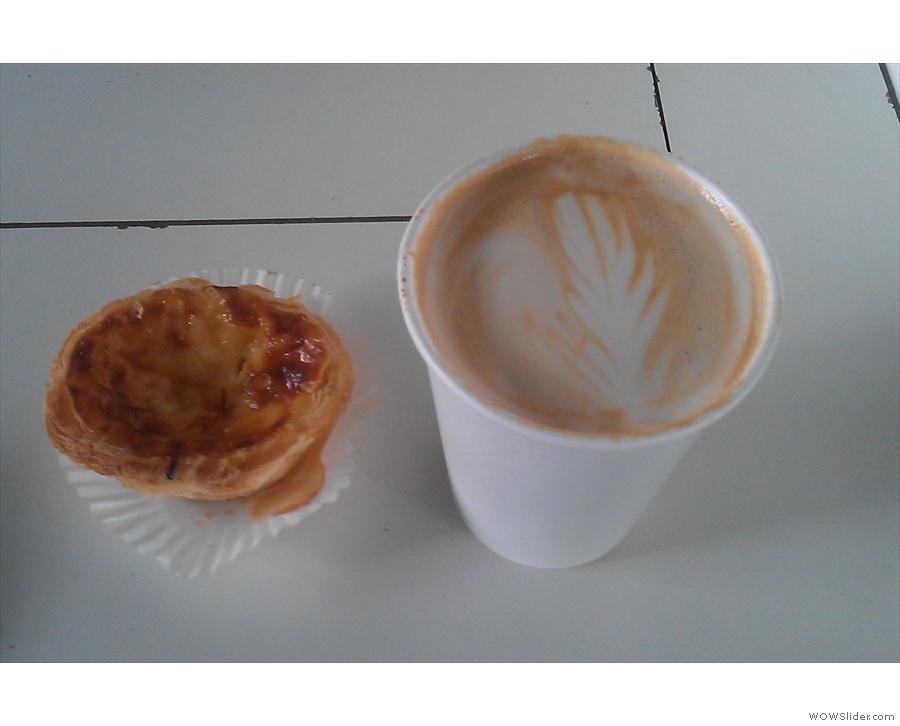 As witnessed by my fine flat white (complete with free nata). With apologies to Sara the barista for the poor quality of the picture...