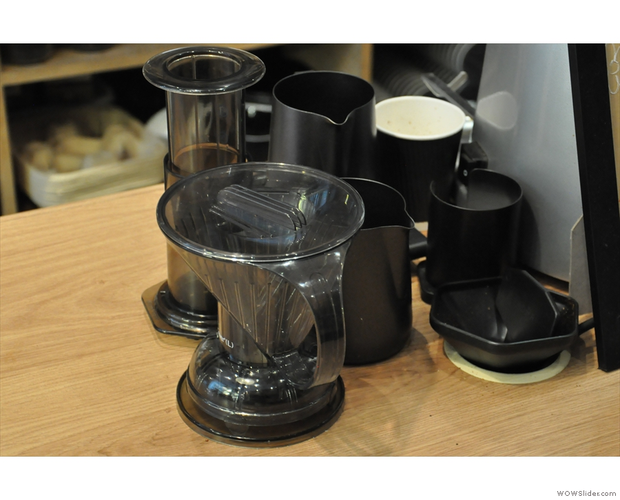 The filter options: Aeropress and Clever Dripper