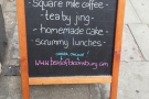 I was back at Bea's in June 2014, when the sign immediately caught my eye. After a brief hiatus, Bea's was back serving Square Mile coffee (click the picture for the full story).