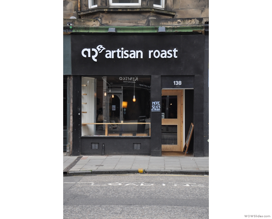 Artisan Roast on Bruntsfield Place. In black and white.