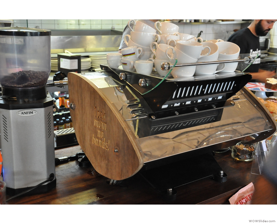 The Kees van der Westen espresso machine, looking beautiful. Go on, give it a stroke...