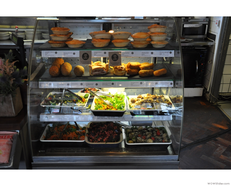 ... while on the opposite side, a chiller full of pies and salads.