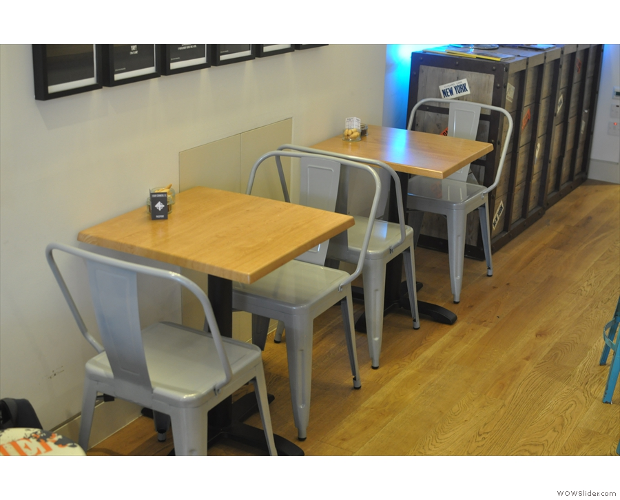 The small tables at the back.