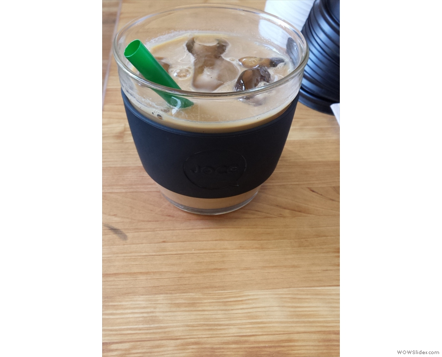Breaking the habit of a lifetime, I went for an iced (decaf) latte...