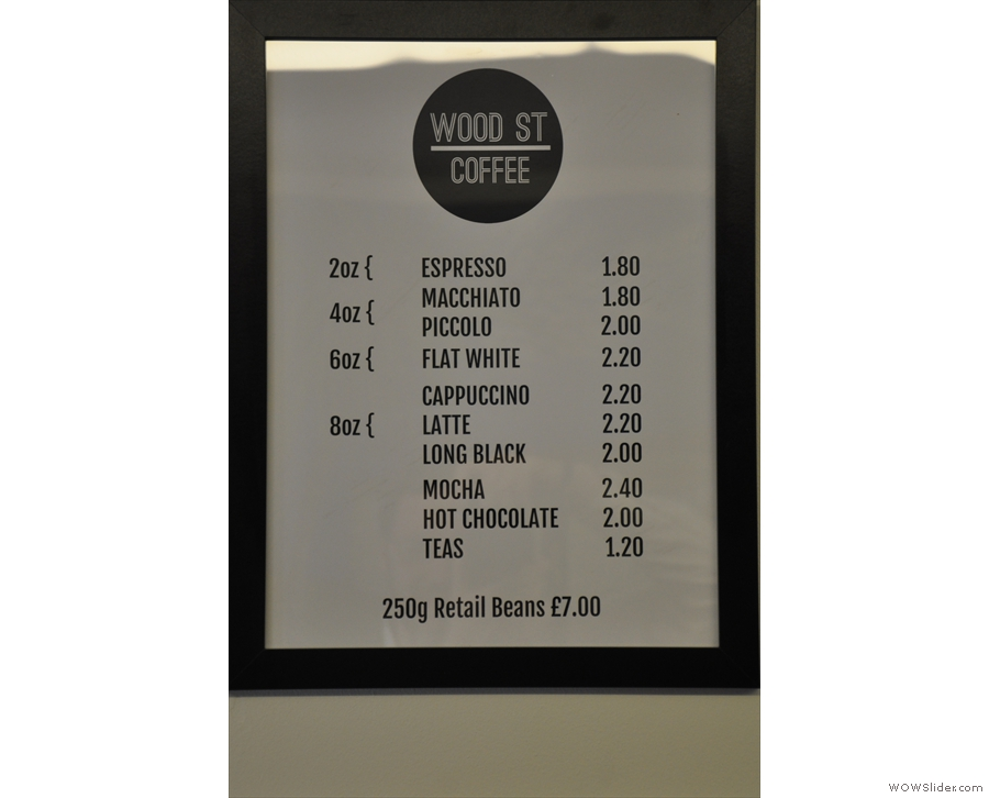 The coffee/hot drinks menu, concise and to the point.