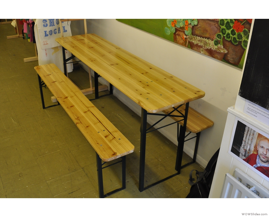 ... and there's this bench/table on the right. Other than the bench outside, that's it.
