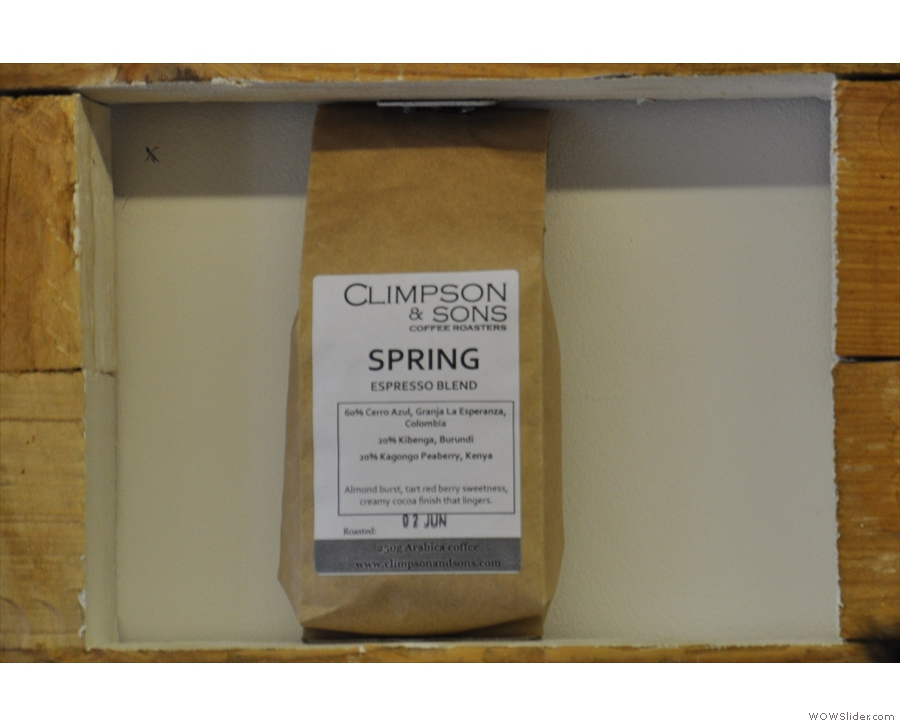 The coffee is Climpson & Sons Spring Espresso blend.
