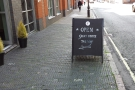 The A-board welcomes you in...