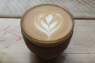 I wanted a photo of my piccolo, but my phone battery died... So here's another flat white!