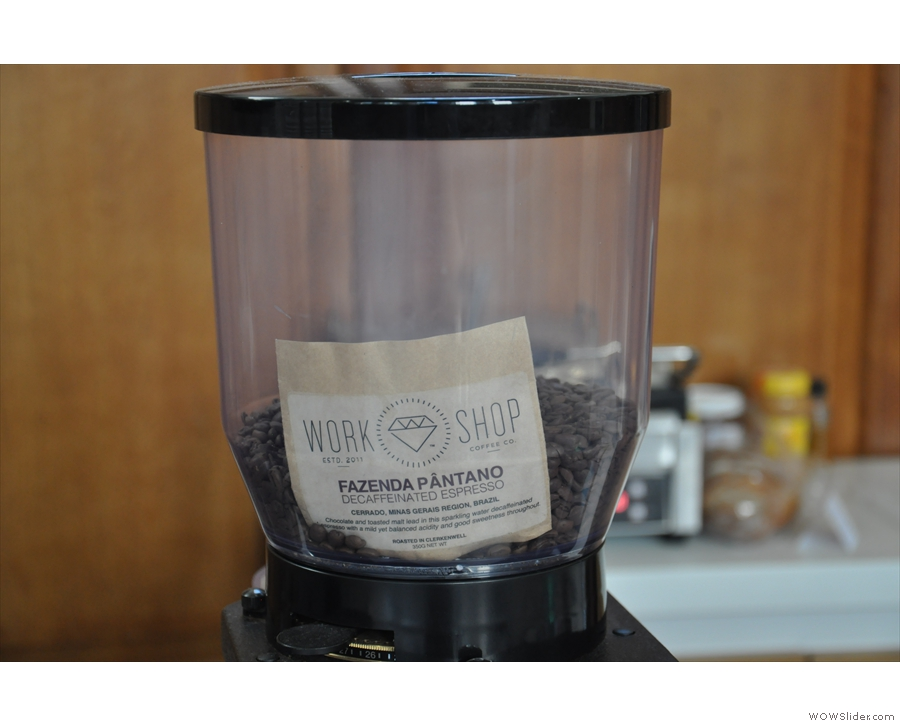 The decaf has its own grinder...