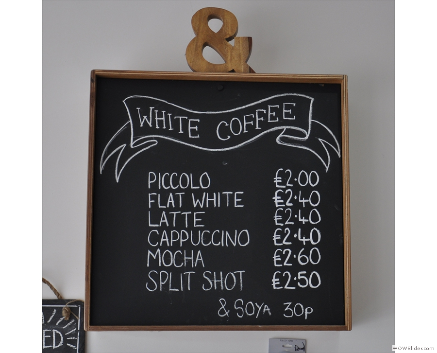 .... and there's white coffee (espresso with milk)...