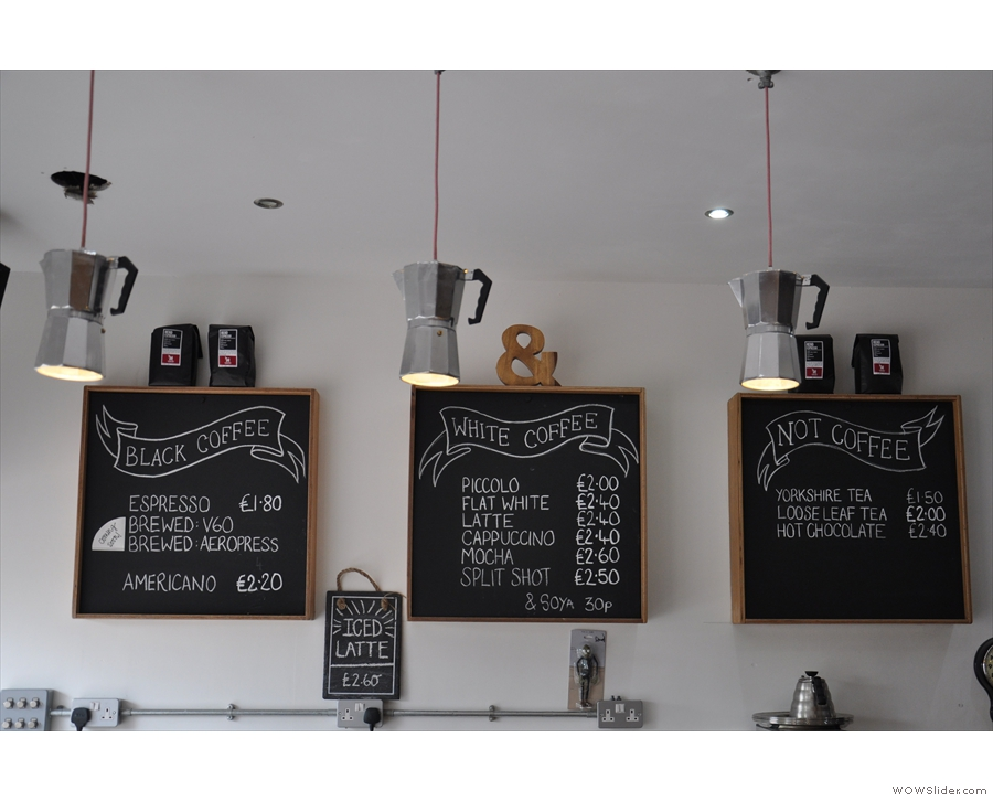Talking of coffee, I liked the menu boards.