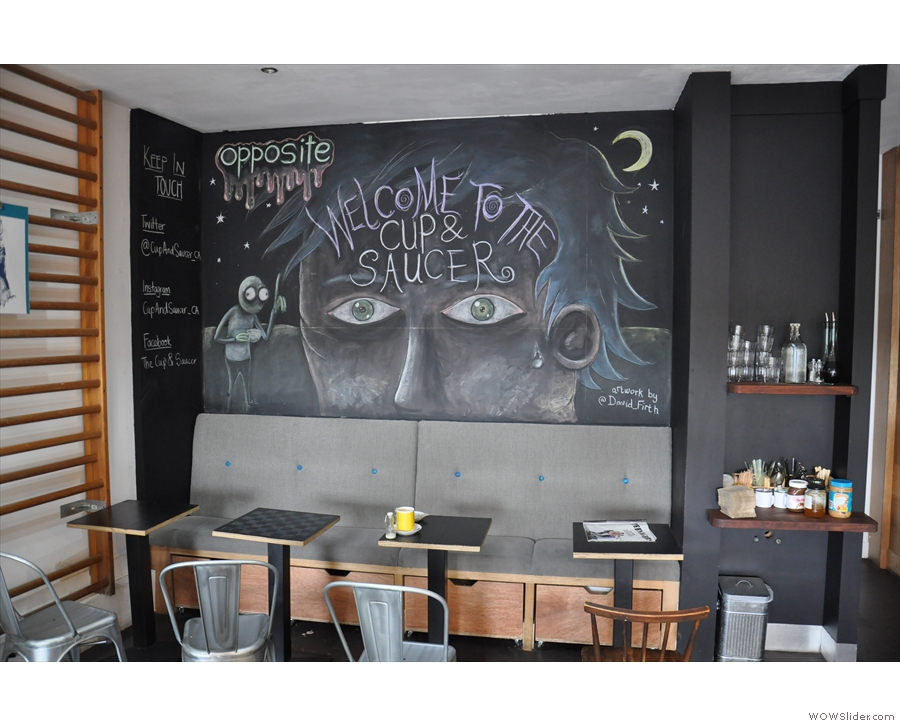 The back of the cafe is domniated by this wonderful work of art by David Firth.