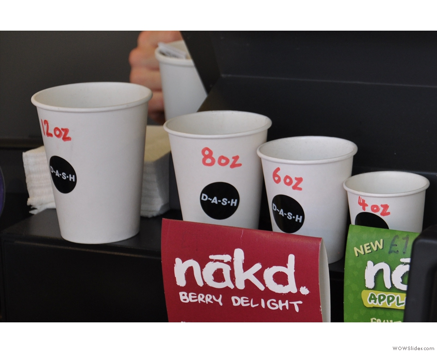 Dash eschews naming its coffee-with-milk offerings, preferring to use sizes.