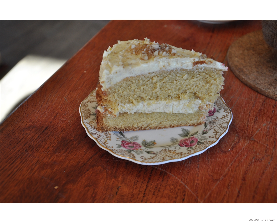 My (huge) slice of honey & walnut cake. The butter cream was superb, but not too sweet.