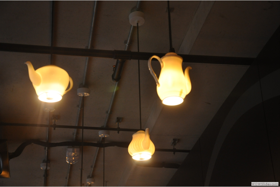 It's worth taking a look at the lighting: teapots with light bulbs inside them. Genius!