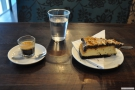 So, down to business. I had an espresso in a glass, and the world's richest chocolate and peanut butter cheesecake!