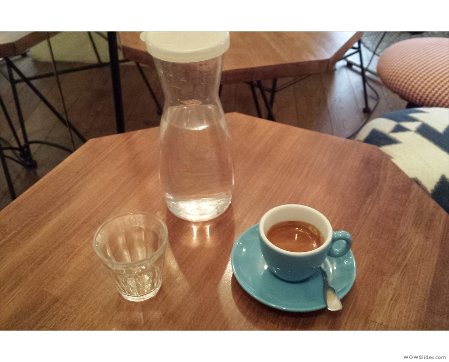 My coffee came with a carafe of water as standard.