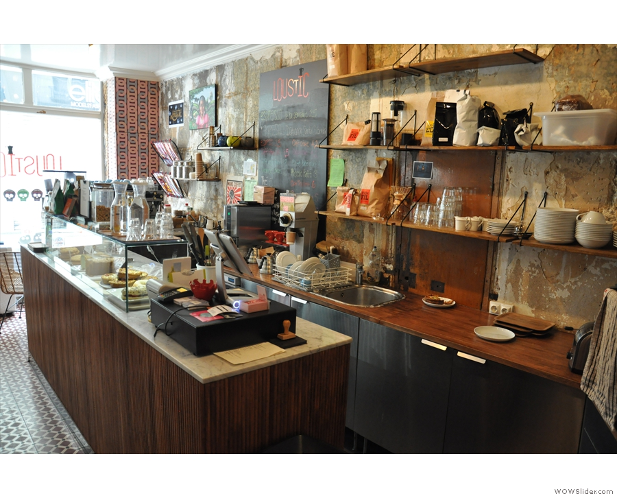 The counter itself, as seen from the back of the store.