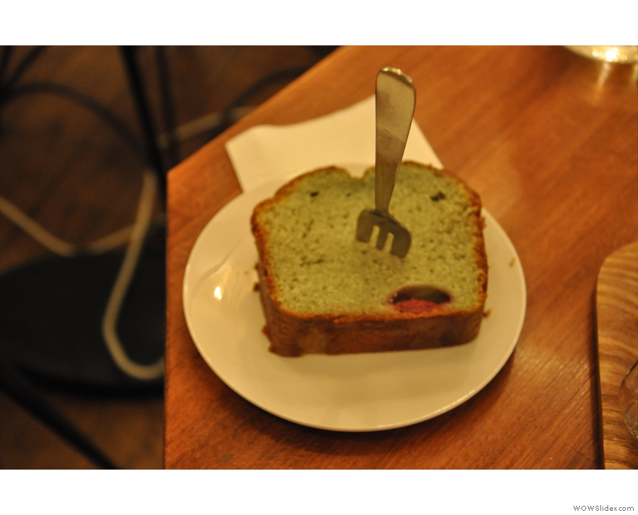 Finally: cake really shouldn't be green, but my pistachio and raspberry cake was excellent!