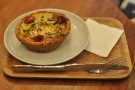 I went for a courgette and feta tart, served warm.